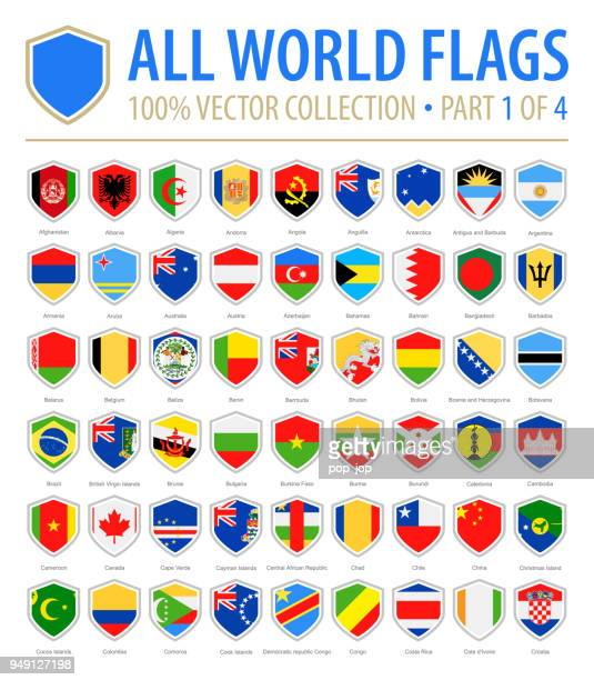 world shield flags - vector flat icons - part 1 of 4 - national flag stock illustrations, clip art, cartoons, & icons