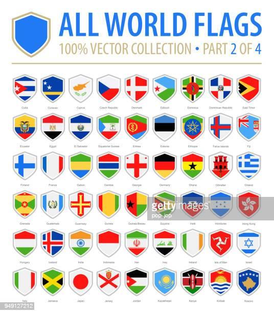 welt schild flaggen - flach-vektor-icons - teil 2 von 4 - flagge von georgien stock-grafiken, -clipart, -cartoons und -symbole