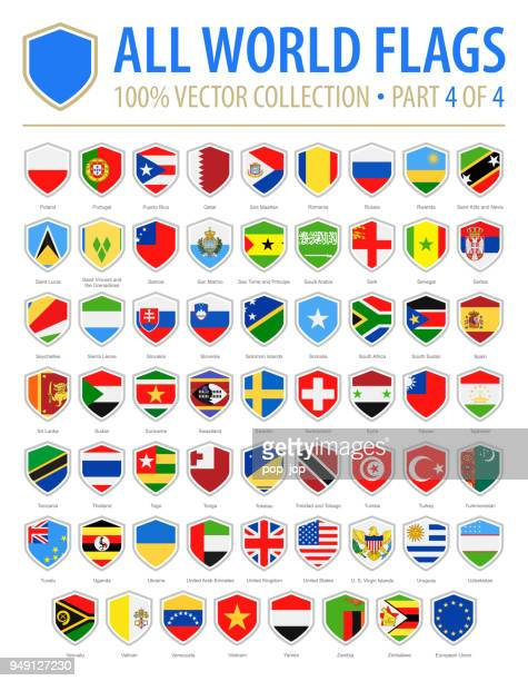 world shield flags - vector flat icons - part 4 of 4 - national flag stock illustrations, clip art, cartoons, & icons