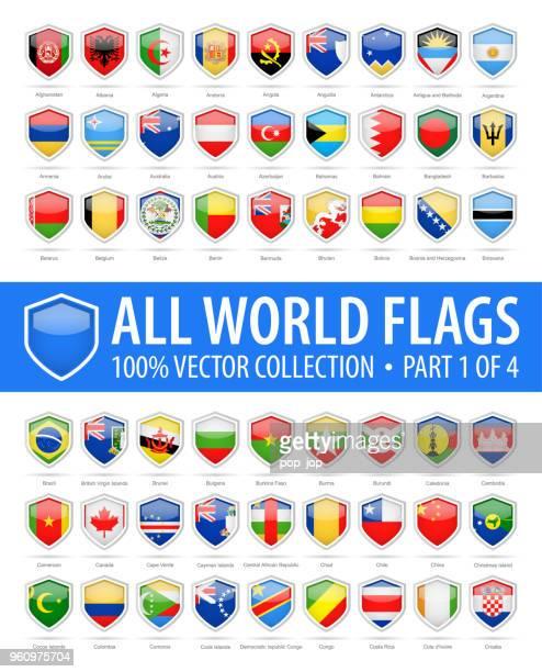 stockillustraties, clipart, cartoons en iconen met wereld shield vlaggen - vector glanzende pictogrammen - deel 1 van 4 - machineonderdeel