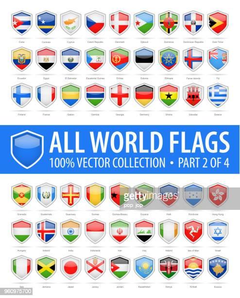 welt schild flaggen - glänzend-vektor-icons - teil 2 von 4 - flagge von georgien stock-grafiken, -clipart, -cartoons und -symbole
