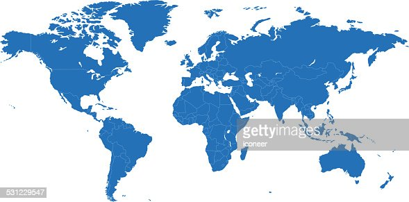 World Simple Blue Map On White Background High-Res Vector ...