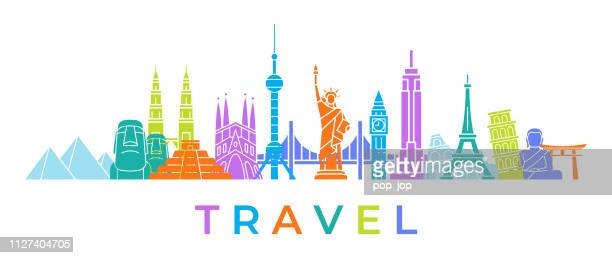 world skyline - famous buildings and monuments.. travel landmark background. color vector illustration - famous place stock illustrations