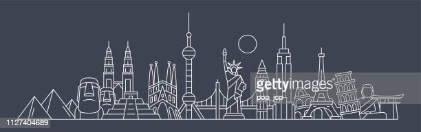 world skyline - famous buildings and monuments.. travel landmark background. vector illustration - monument stock illustrations