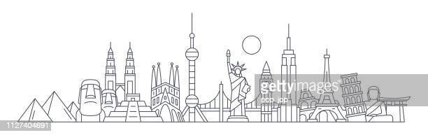world skyline - famous buildings and monuments.. travel landmark background. vector illustration - tuscany stock illustrations, clip art, cartoons, & icons