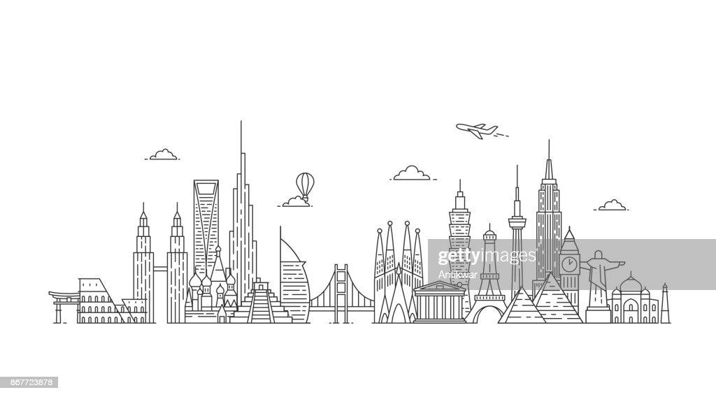 World skyline. Illustations in outline style