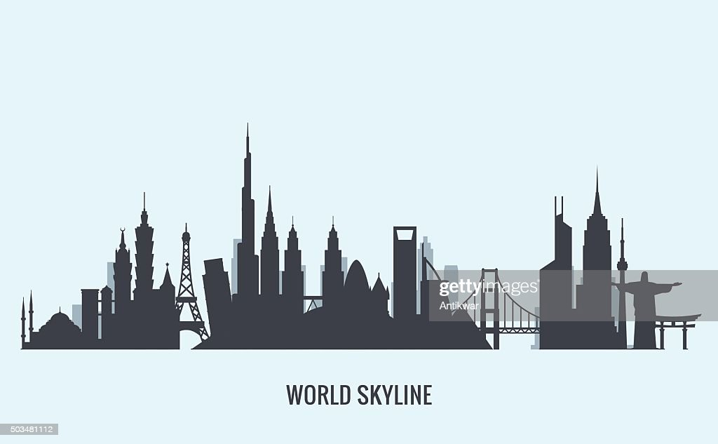World skyline silhouette. Travel and tourism background.