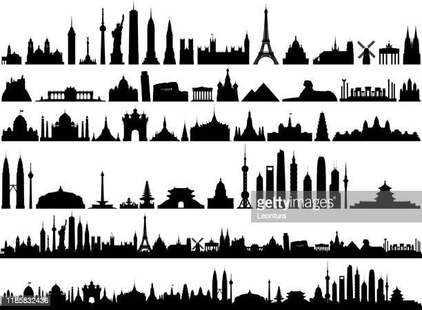 world skyline (all buildings are complete and moveable) - unesco world heritage site stock illustrations