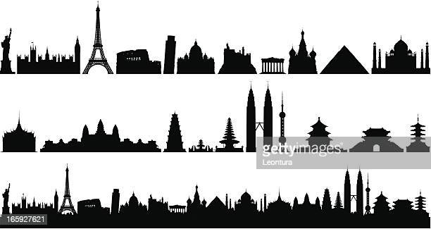 world skyline (buildings are detailed, moveable and complete) - red square stock illustrations, clip art, cartoons, & icons