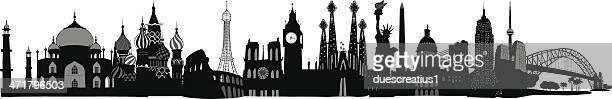 world skyline - ellis island stock illustrations, clip art, cartoons, & icons