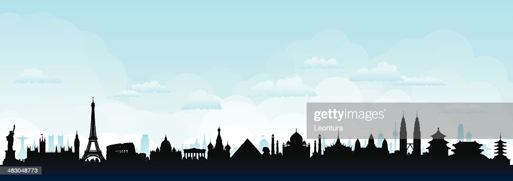 World Skyline (Buildings Are Detailed, Moveable and Complete) : stock illustration