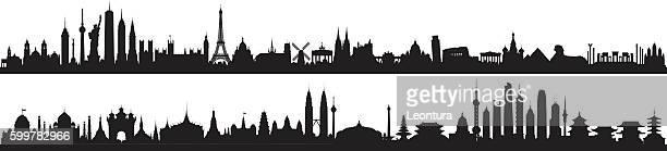 world skyline (all buildings are detailed, complete and moveable) - red square stock illustrations, clip art, cartoons, & icons