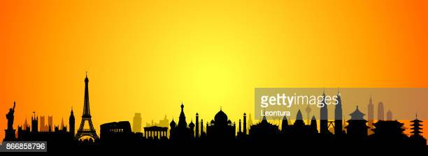 world skyline (all buildings are complete and moveable) - red square stock illustrations, clip art, cartoons, & icons