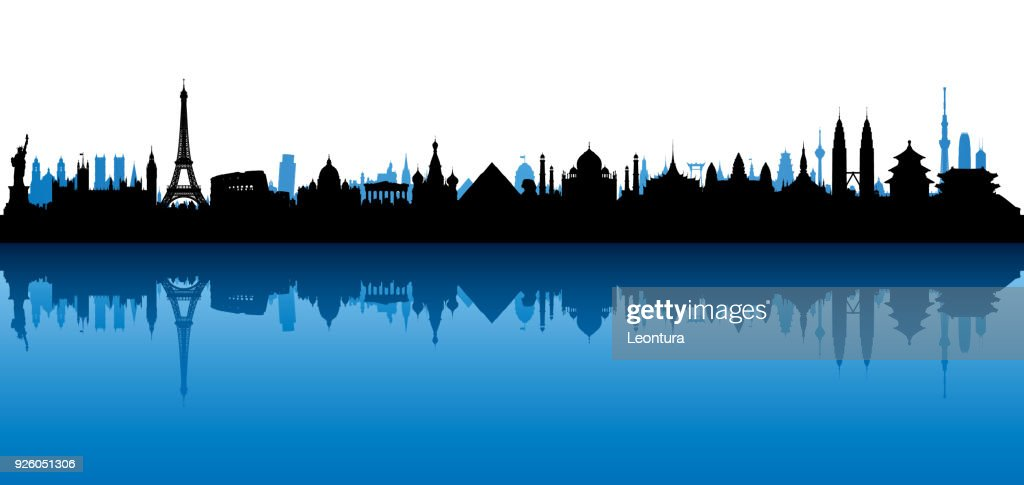 World Skyline (All Buildings Are Complete and Moveable) : Stock Illustration