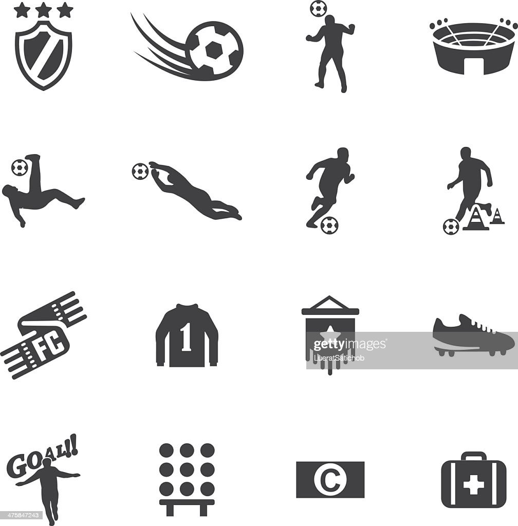 World Soccer Silhouette icons 2 : stock illustration