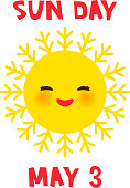World Sun day may 3, Kawaii funny yellow sun with cute smiles pink cheeks and eyes on white background. Vector