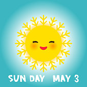 World Sun day may 3, Kawaii funny yellow sun with cute smiles pink cheeks and eyes on sky blue background. Vector