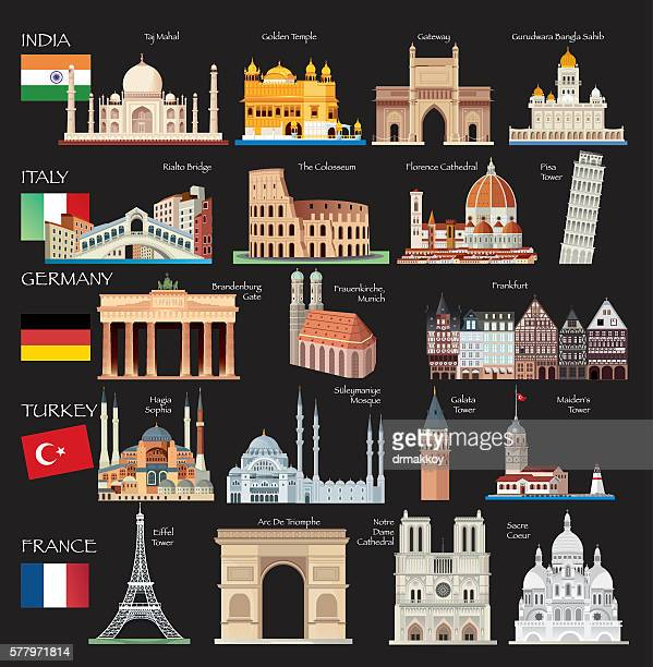 world symbols - leaning tower of pisa stock illustrations, clip art, cartoons, & icons