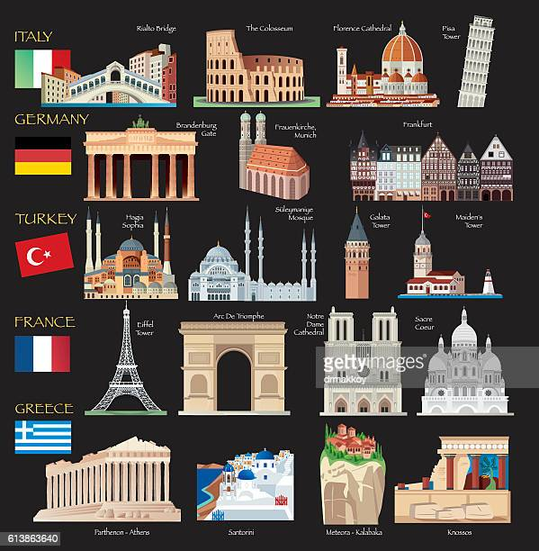 world symbols - brandenburg gate stock illustrations, clip art, cartoons, & icons