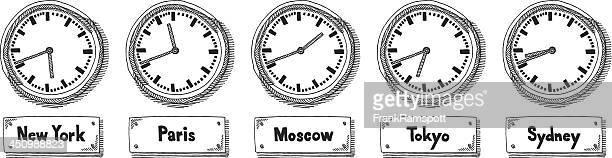 World Time Zone Wall Clocks Drawing