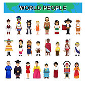 World Traditional People Costume Diversity Cute Characters Cartoon Set Vector Illustration