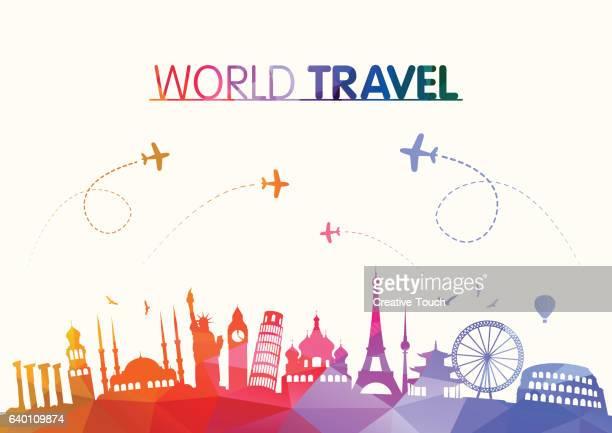 ilustrações, clipart, desenhos animados e ícones de world travel e famosos marcos polygonal conceito - moscou