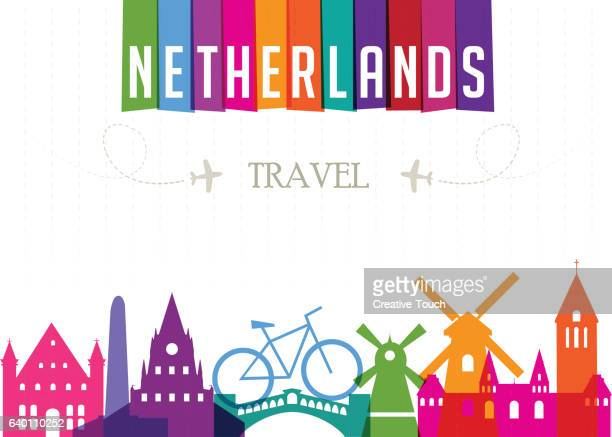 world travel and famous locations - netherlands - amsterdam stock illustrations, clip art, cartoons, & icons