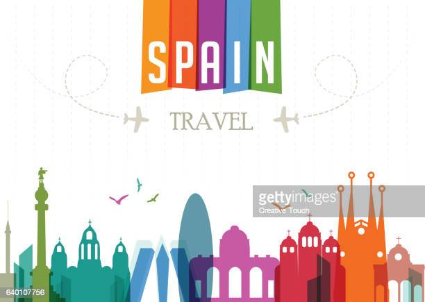 world travel and famous locations - spain - barcelona stock illustrations, clip art, cartoons, & icons