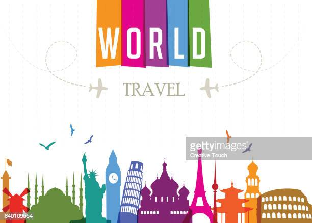bildbanksillustrationer, clip art samt tecknat material och ikoner med world travel and famous locations - world tour - international landmark