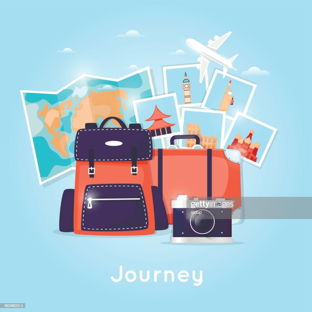 World Travel. Backpack. Planning summer vacations. Holiday, journey. Tourism and vacation theme. Poster. Flat design vector illustration.