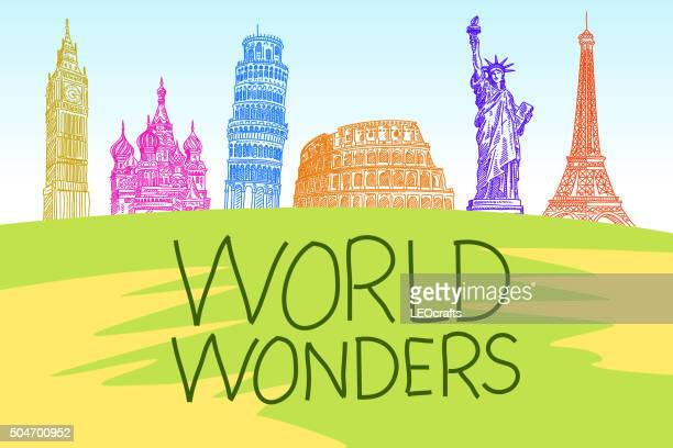 world travel concept drawing - pisa stock illustrations, clip art, cartoons, & icons