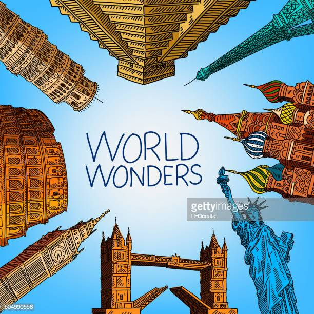 world travel concept drawing - unesco world heritage site stock illustrations