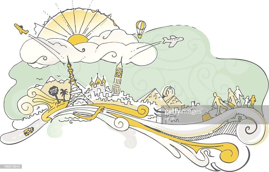 world travel doodle : Stockillustraties