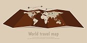 World travel folded map with airplanes.