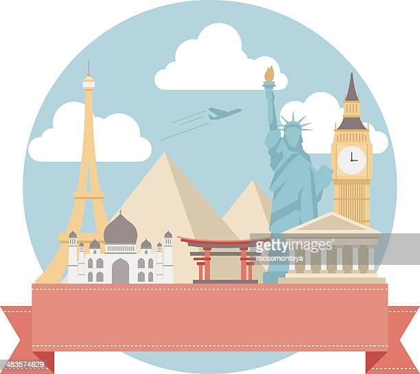 ilustrações, clipart, desenhos animados e ícones de world travel ícones - taj mahal