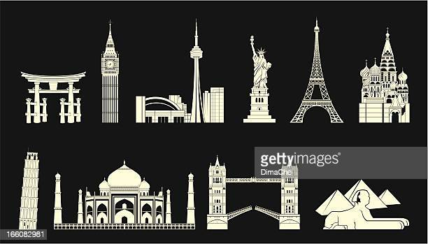bildbanksillustrationer, clip art samt tecknat material och ikoner med world travel landmarks set - international landmark