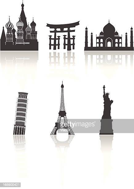 world travel landmarks - leaning tower of pisa stock illustrations, clip art, cartoons, & icons