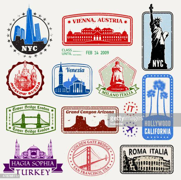 World Travel Passport stamps royalty free vector graphic
