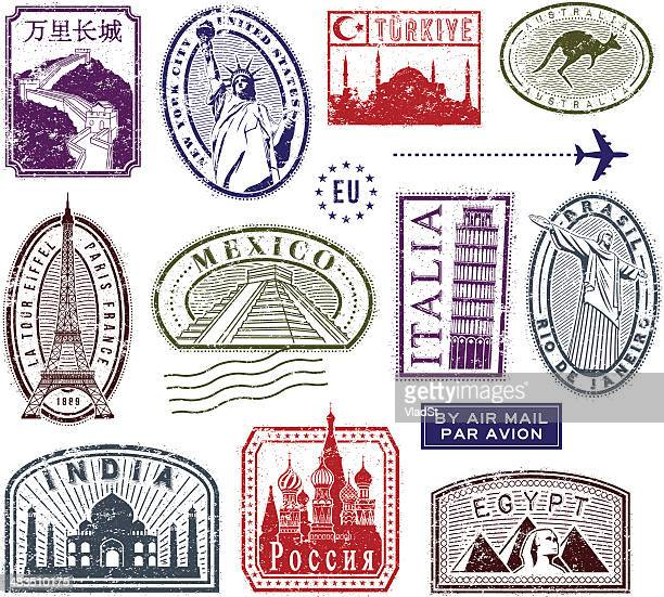 world travel rubber stamps - italy stock illustrations
