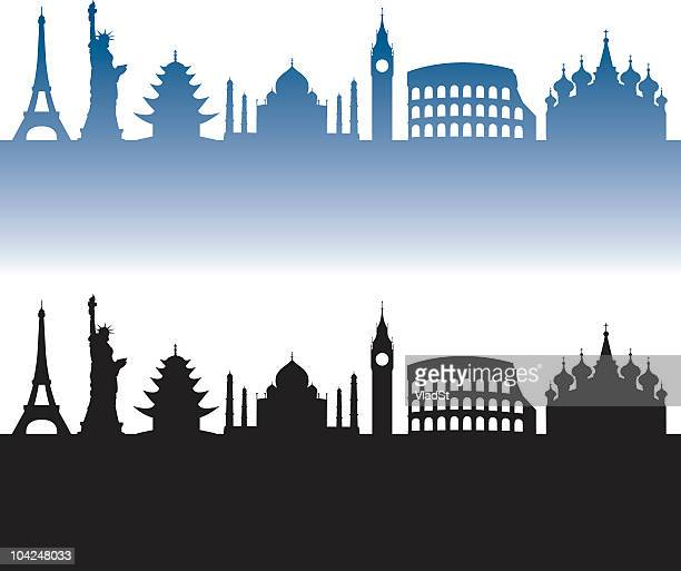 World travel silhouettes