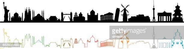 ilustrações, clipart, desenhos animados e ícones de skyline de viagens do mundo - panorâmica