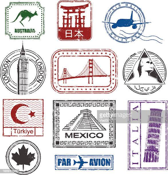 world travel stamps - the sphinx stock illustrations, clip art, cartoons, & icons