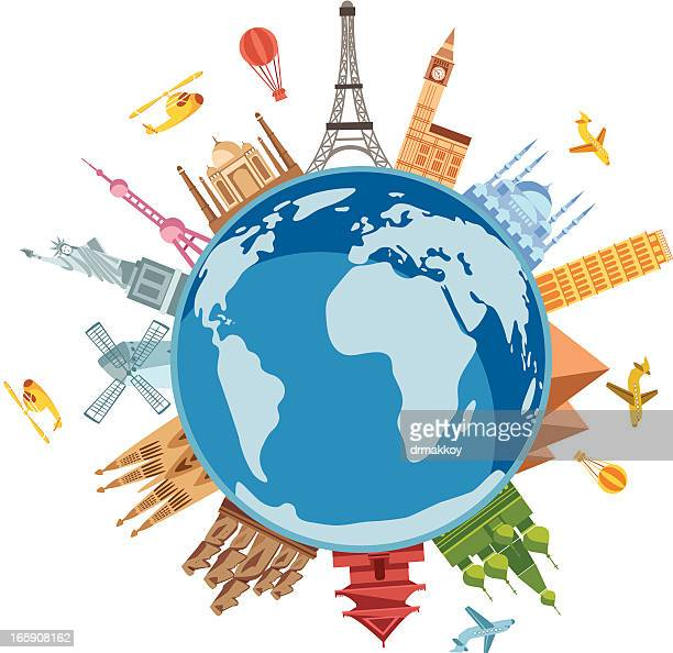 world travel symbols - travel destinations stock illustrations