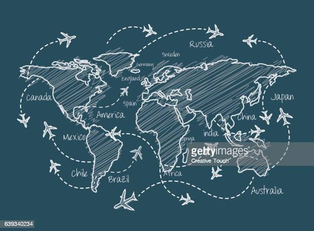 ilustrações, clipart, desenhos animados e ícones de world travel travel plan - voando