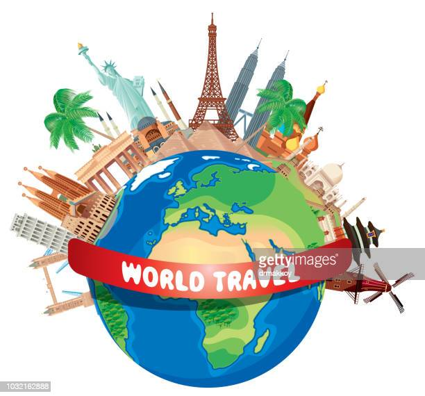 world travel - famous place stock illustrations