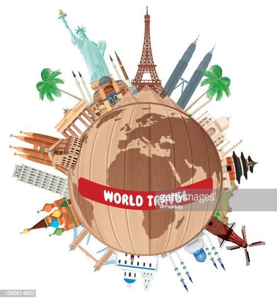 ilustrações, clipart, desenhos animados e ícones de viajar pelo mundo - taj mahal