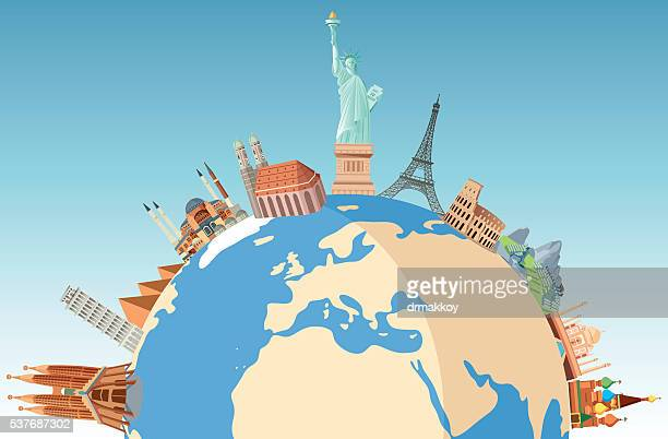world travel - tourist attraction stock illustrations