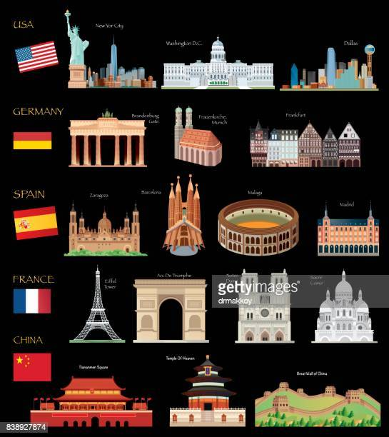 bildbanksillustrationer, clip art samt tecknat material och ikoner med world travel - international landmark