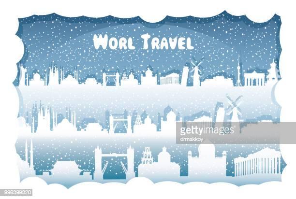 world travel - santorini stock illustrations