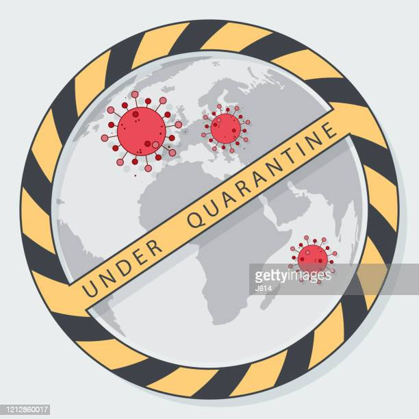 world under quarantine - high scale magnification stock illustrations